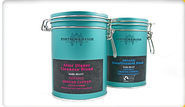 Fortnum and mason packaging design metal coffee tins