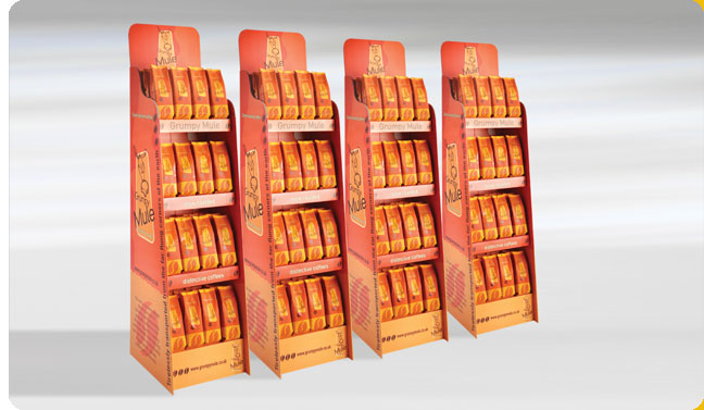 Grumpy Mule 3 tier point of sale retail display