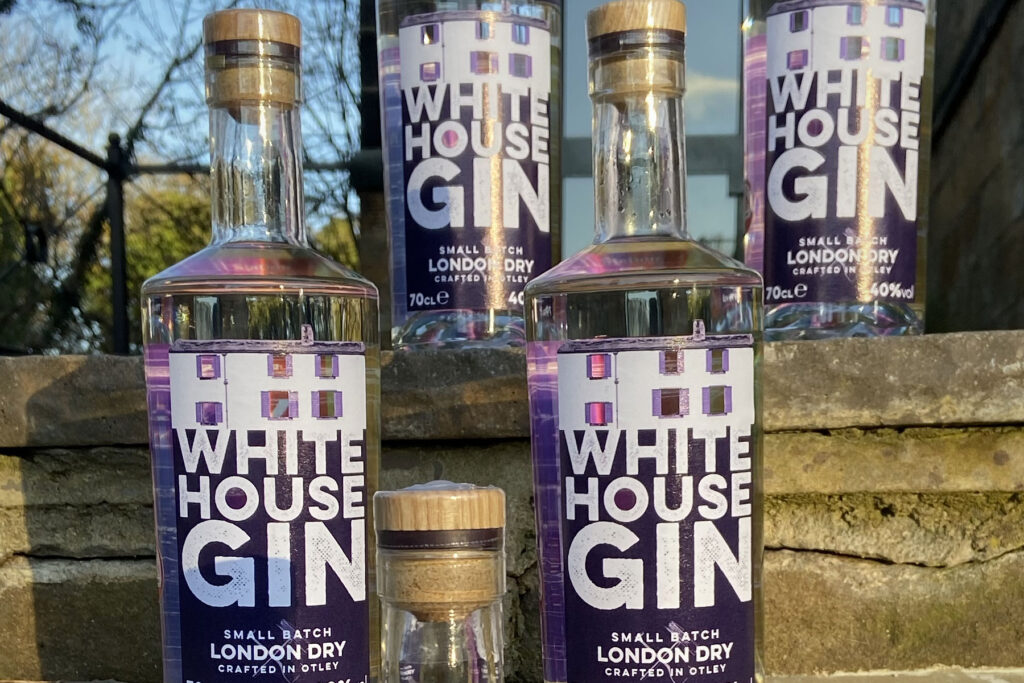 White House Gin with cut out labels